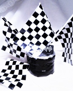 Black and white racing sets include checkered flag; felt road; foam cars adn trucks just for fun!