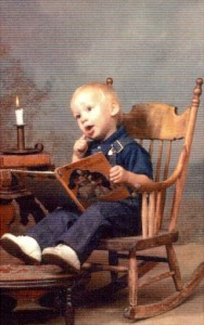 My son loved books at age 2.
