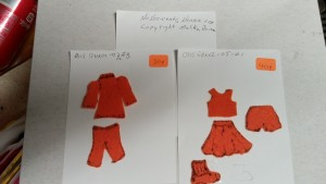 "More basic designs of simple felt clothes for 3.5 inch Ginger Nap felt Sensory Play Dolls. Each piece is made from a basic pattern, but each has unique variations making them nearly "" one of a Kind"" vs Cookies cutter templates."
