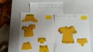 "These prototype ' Mustard Yellow""sample for Ginger Nap Babies shows designs with panties and hats as well as skirts, shorts and dresses.Copyright Malika Bourne"