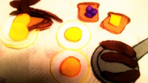 Parents can encouarge the kids to play with this felt food: breakfast. In stock quantitites limited.