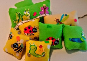 Soft and squishy mini bug pillows in colors kids love. (Not for children under age 3.) Depending on size- to be specified thae prices start at $1.50 and up.