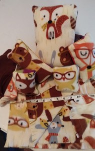 Soft forest animal fleece sets. Draw string bags adn soft pillows. Quanitites are very limited. Sizes vary with price for set startign at $3.00.