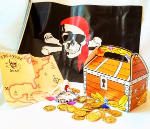 Pirate dramatic play with pirate flag; treasure map; beaded skul bracelette; gold coins; jewels and treasure box to hold the loot. Pirate theme coelctions sold on Heart Felt Play Store. Manufactured otc