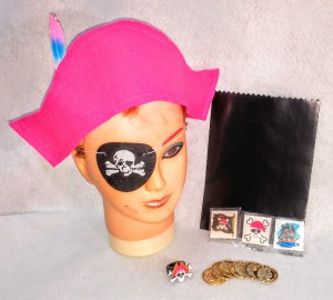 Get the Pirate Party started with the basics: hot pink felt . Great for dramatic play- pirate hat; 3 tatoos :rubber pirate ring; fake gold coins: cake bag. All and more from No Non-cents Nanna's Heatt Felt Play Store. Shopify Store : re-opening soon. watch for grand opening.