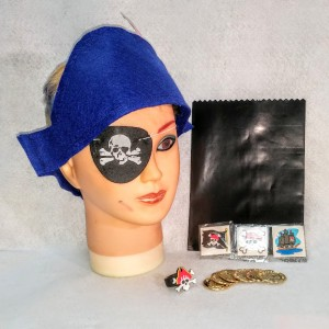 Get the Pirate Party started with the basics: navy blue felt pirate hat; 3 tatoos :rubber pirate ring; 6 fake gold coins: one black cake bag. All and more from No Non-cents Nanna Felt Play Store.
