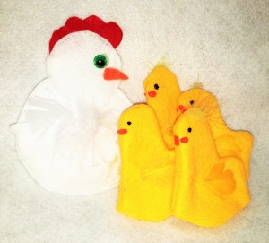 Hen and chicks finger puppets crated by No Non-cents Nanna for Heart Felt Play Store