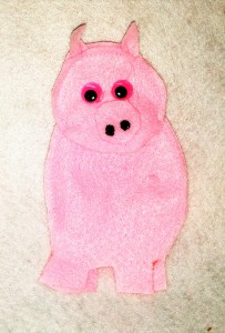 Felt pig finger puppet created by No Non-cents Nanna for Heart Felt Play Store
