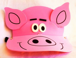 Pig Face Child's foam visor. Elastic band in back. Buy on Heat Felt Play Store