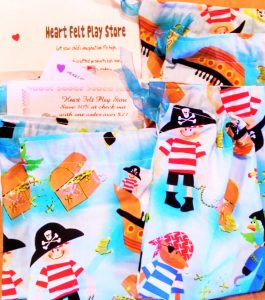 SWAG BAG Idea.Draw string Bag hand made with Pirate theme. from Heart Felt Play Store SWAG BAG. with 30% off one time Heart Felt Play store and FREE ShippING coupons. Re-use for ppirate party.