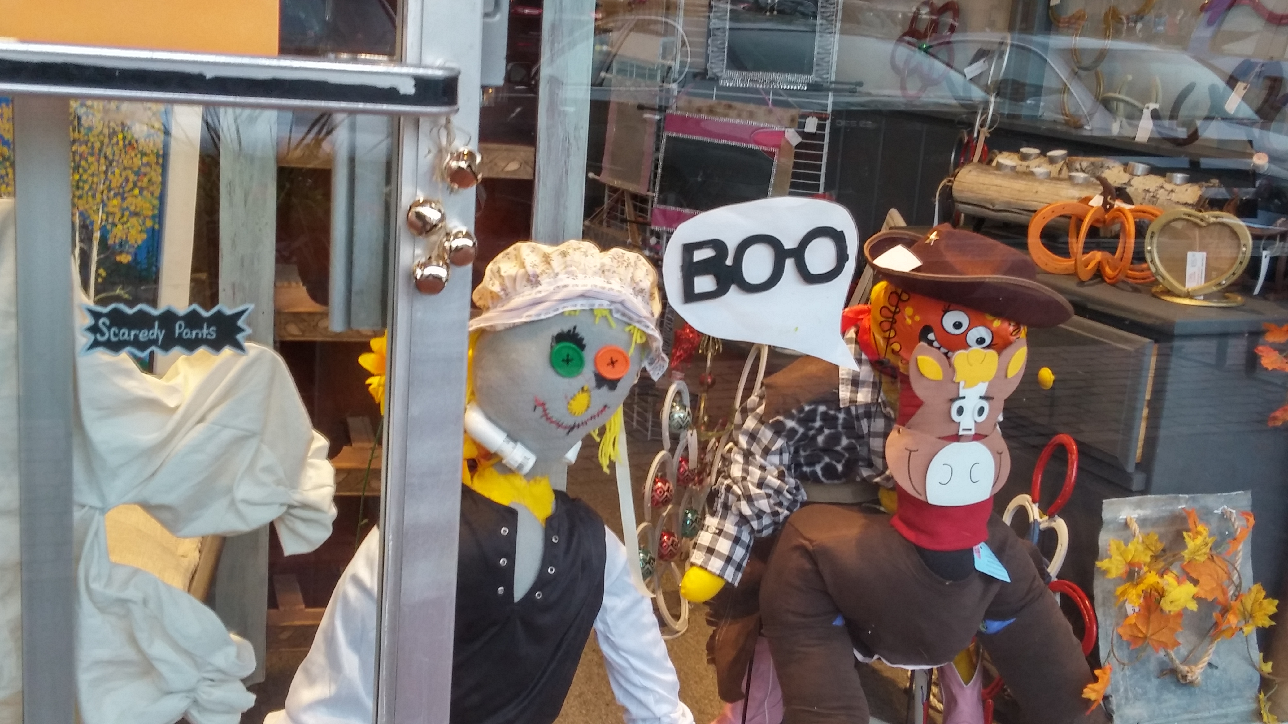 heart felt play store scaredy pants duo was on display in old colorado city window fall of 2016 - Halloween Stores Colorado Springs