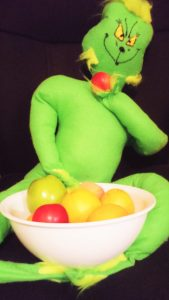 "Grinch eats all my fruit then replies, ""What? Fruit is good for me. Candy will rott my teeth!"""