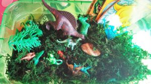Dinosaur Sesnory Play Box fromHeart Felt Play Store: various sizes and textures of plastic dinosaurs; frog moss to dig thru', rocks, plastic trees. See post