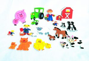 Foam Farm Stickers: pig, tractor, barn, farmer, dog, horse, chick, cat, farm girl, cow; 2 of each-large and small